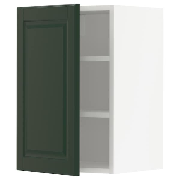 METOD Wall cabinet with shelves, white/Bodbyn dark green, 40x37x60 cm