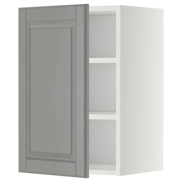 METOD Wall cabinet with shelves, white/Bodbyn grey, 40x37x60 cm