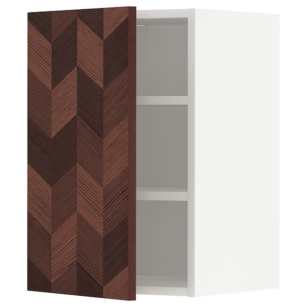 METOD Wall cabinet with shelves, white Hasslarp/brown patterned, 40x37x60 cm