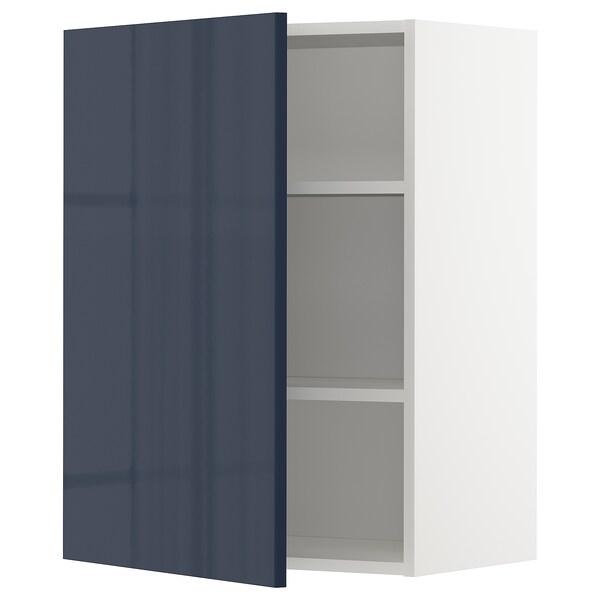 METOD Wall cabinet with shelves, white/Järsta black-blue, 60x37x80 cm