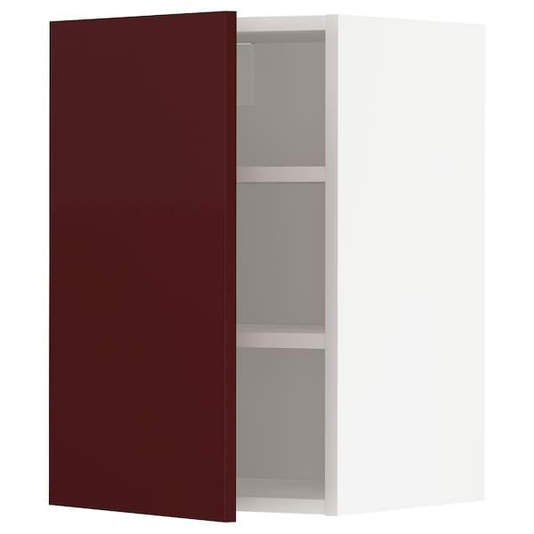 METOD Wall cabinet with shelves, white Kallarp/high-gloss dark red-brown, 40x37x60 cm