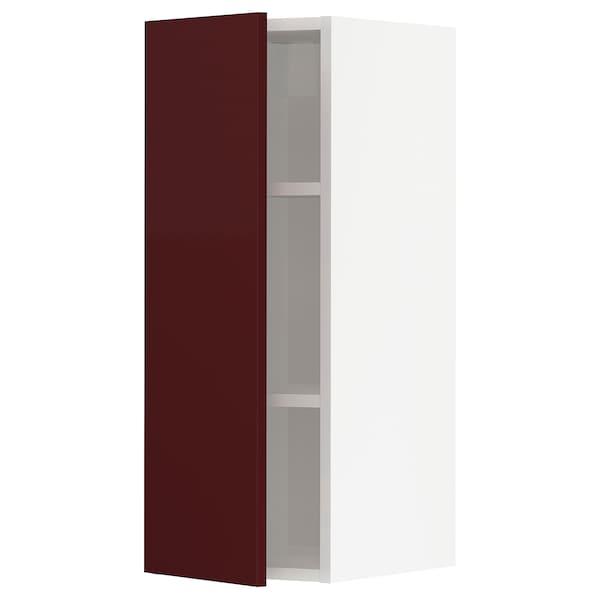 METOD Wall cabinet with shelves, white Kallarp/high-gloss dark red-brown, 30x37x80 cm
