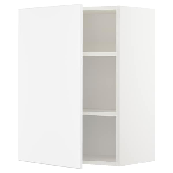 METOD Wall cabinet with shelves, white/Kungsbacka matt white, 60x37x80 cm