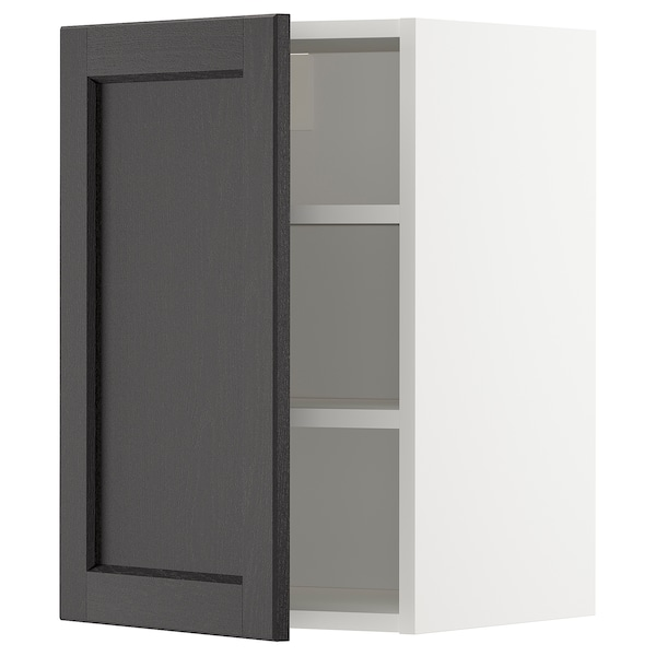 METOD Wall cabinet with shelves, white/Lerhyttan black stained, 40x37x60 cm