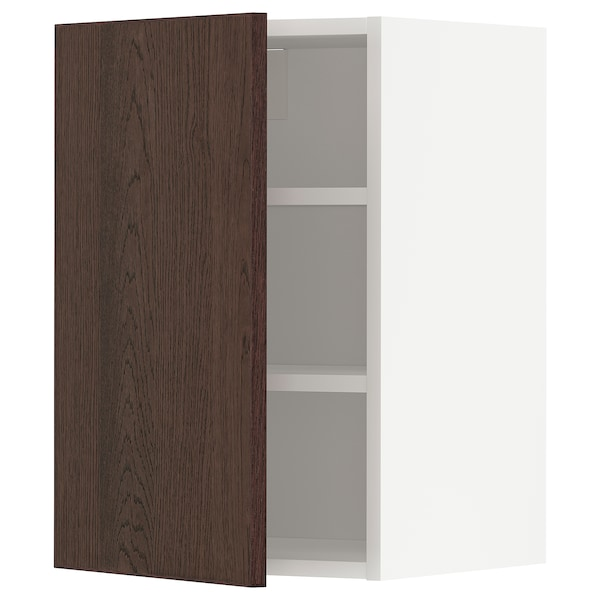 METOD Wall cabinet with shelves, white/Sinarp brown, 40x37x60 cm