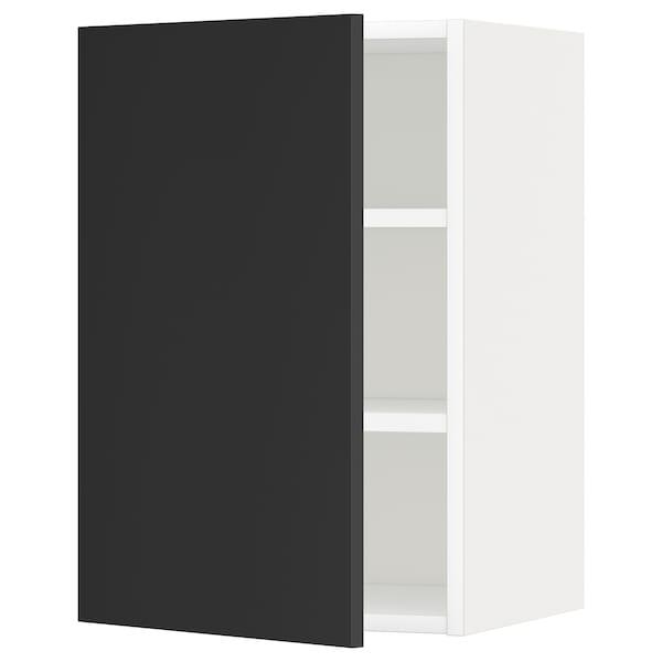 METOD Wall cabinet with shelves, white/Uddevalla anthracite, 40x37x60 cm