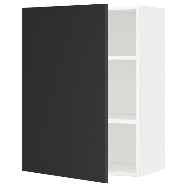 METOD Wall cabinet with shelves, white/Uddevalla anthracite, 60x37x80 cm