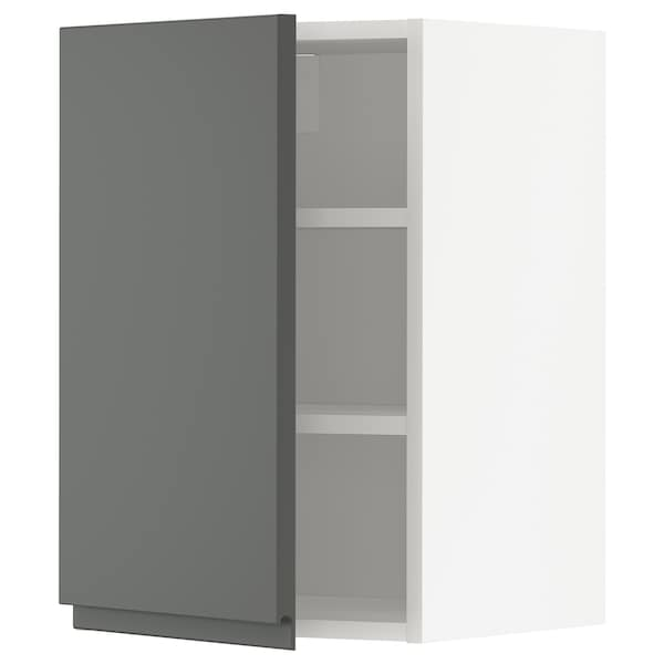 METOD Wall cabinet with shelves, white/Voxtorp dark grey, 40x37x60 cm