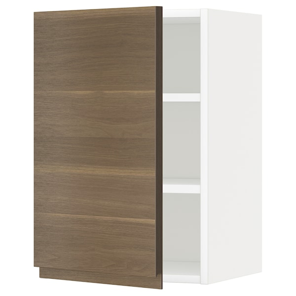 METOD Wall cabinet with shelves, white/Voxtorp walnut effect, 40x37x60 cm