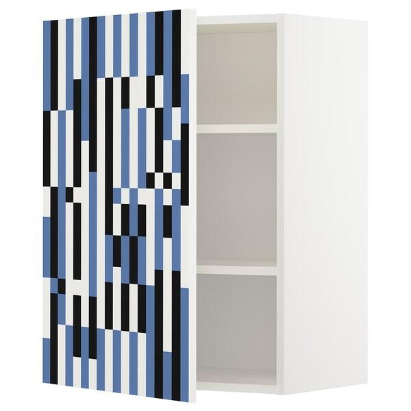 METOD wall cabinet with shelves white/Ytterbyn printed 60.0 cm 37 cm 38.7 cm 80.0 cm