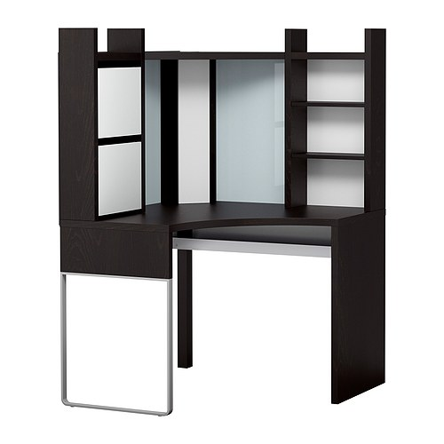MICKE Corner workstation, black-brown, white Max. width: 100 cm Depth: 100 cm Height: 151 cm