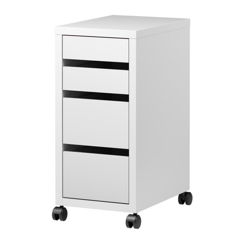MICKE Drawer unit on castors   Drawer stops prevent the drawers from being pulled out too far.