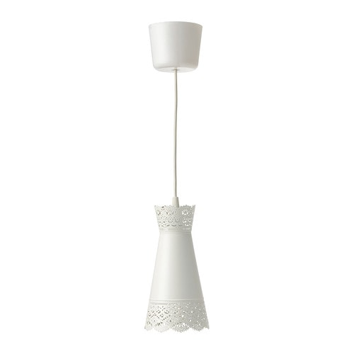 MÖLNDAL Pendant lamp   Creates a decorative light pattern in the room when the light shines through the perforated shade.
