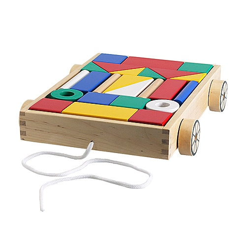 MULA 24 building blocks with wagon   Durable building blocks of solid wood.