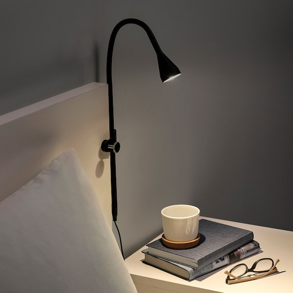 NÄVLINGE LED wall/clamp spotlight black 220 lm 63 cm 2.0 m 1.9 W 25000 hr
