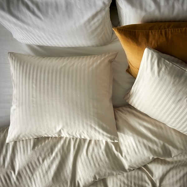 NATTJASMIN Duvet cover and 2 pillowcases, light beige, 240x220/50x80 cm