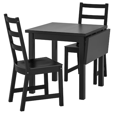NORDVIKEN Table and 2 chairs, black/black, 74/104x74 cm
