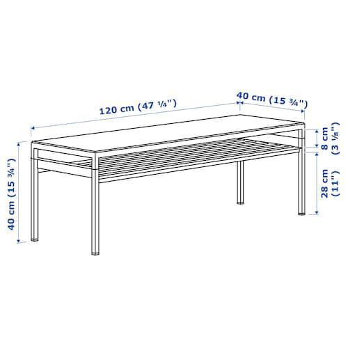 NYBODA Coffee table w reversible table top, light grey concrete effect/white, 120x40x40 cm