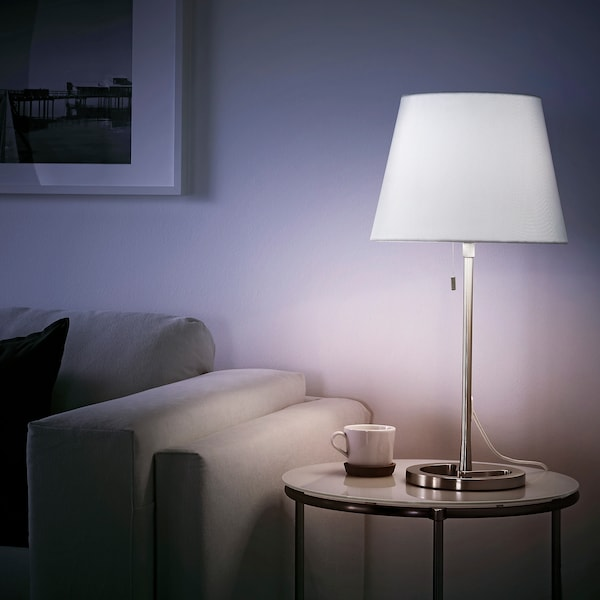 NYFORS Table lamp, nickel-plated white