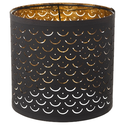 NYMÖ Lamp shade, black/brass-colour, 24 cm