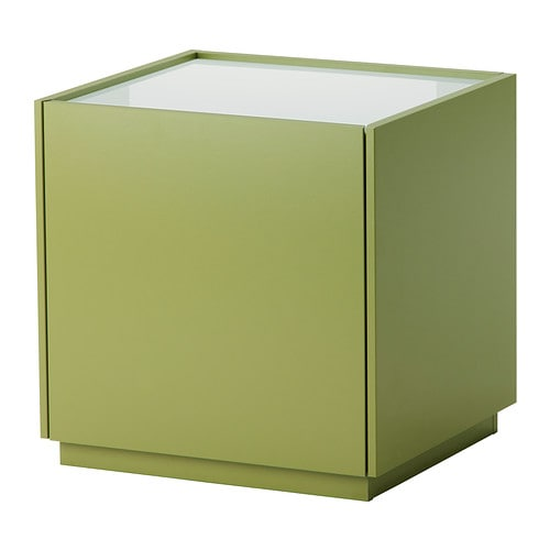 NYVOLL Bedside table   Drawer with integrated damper that catches the running drawer so that it closes slowly, silently and softly.