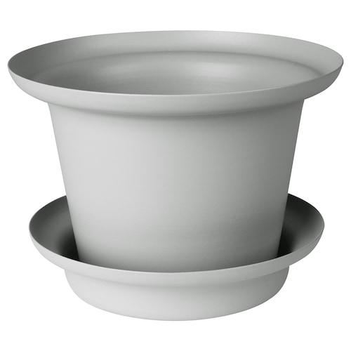 OMTÄNKSAM plant pot with saucer light grey 14 cm 20 cm 12 cm