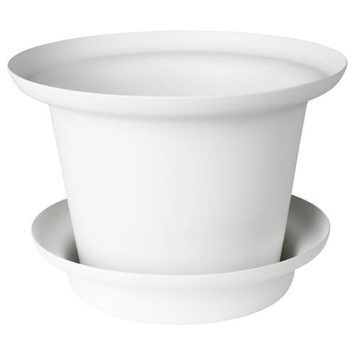OMTÄNKSAM plant pot with saucer white 14 cm 20 cm 12 cm