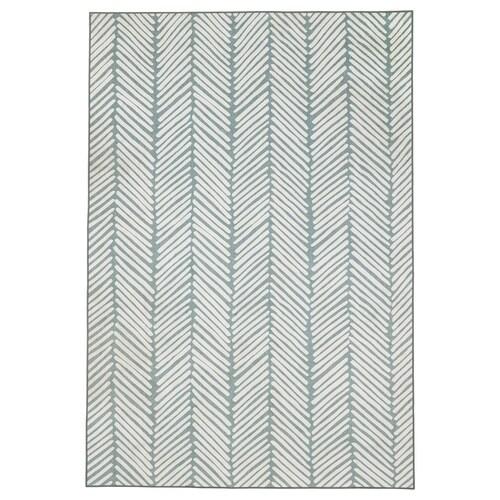 OMTÄNKSAM Rug, flatwoven, green/light grey, 133x195 cm