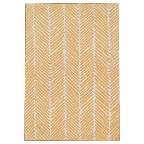 OMTÄNKSAM rug, flatwoven yellow/light grey 195 cm 133 cm 2.59 m²