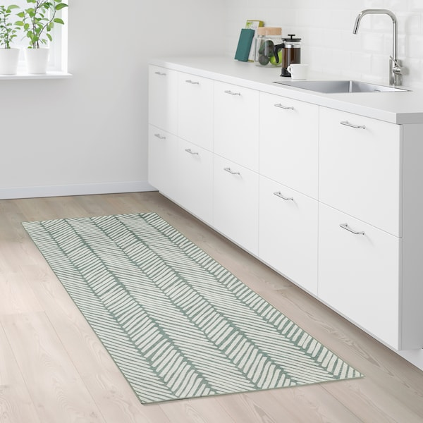 OMTÄNKSAM rug, flatwoven green/light grey 200 cm 90 cm 1.80 m²