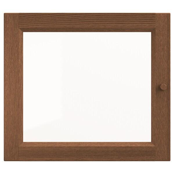 OXBERG Glass door, brown ash veneer, 40x35 cm