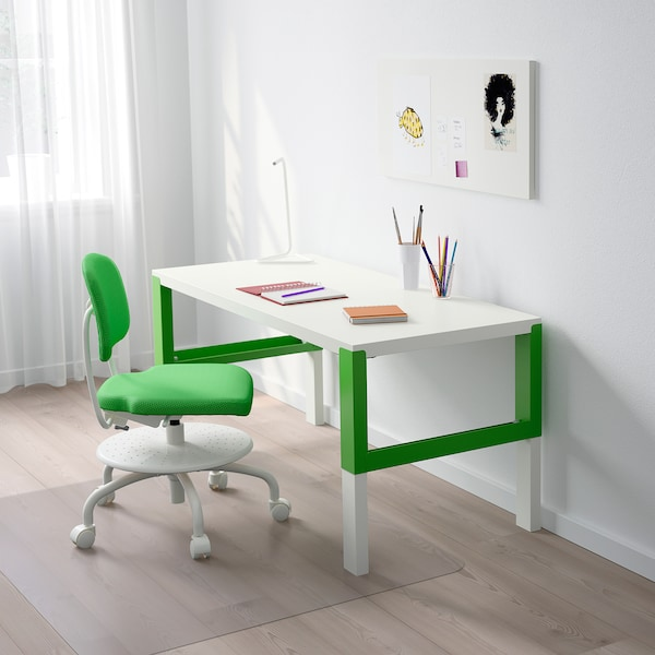 PÅHL Desk, white/green, 128x58 cm