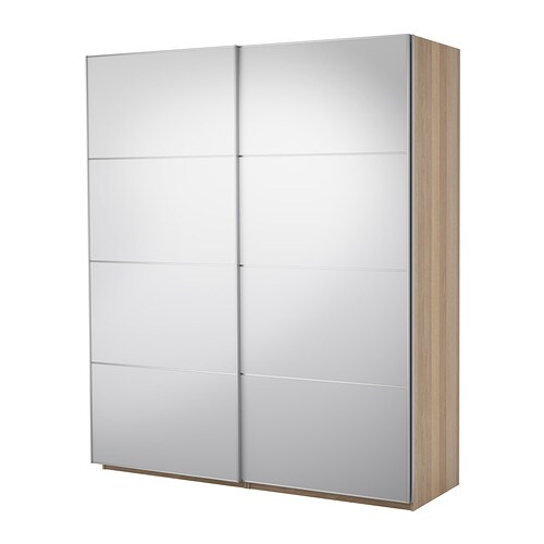 PAX Wardrobe with sliding doors   Sliding door; requires less space when open than a standard wardrobe door.