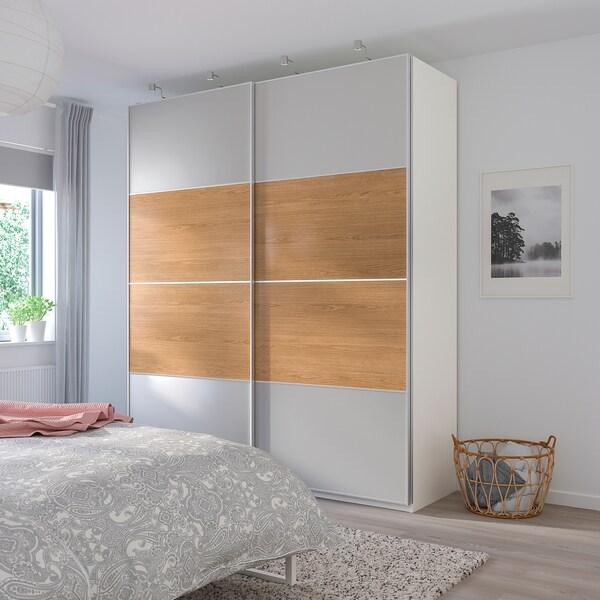 PAX wardrobe Mehamn oak effect/light grey 200.0 cm 66.0 cm 236.4 cm