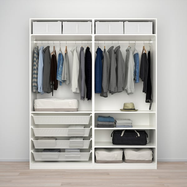 PAX wardrobe white/Nykirke frosted glass, check pattern  200.0 cm 66.0 cm 236.4 cm