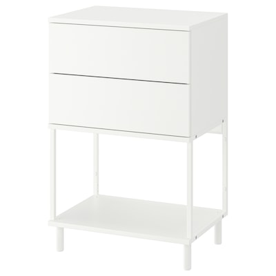 PLATSA Chest of 2 drawers, white/Fonnes, 60x42x91 cm