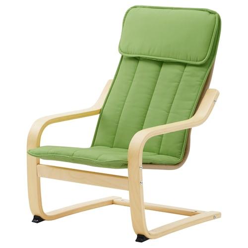 POÄNG children's armchair birch veneer/Almås green 47 cm 60 cm 68 cm 38 cm 36 cm 25 cm