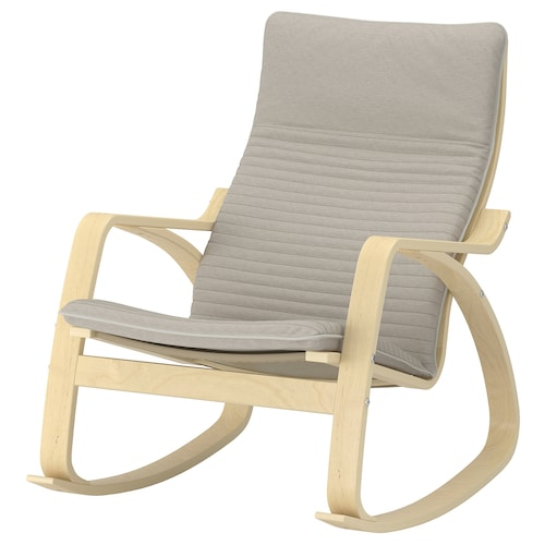 POÄNG rocking-chair birch veneer/Knisa light beige 68 cm 94 cm 95 cm 56 cm 50 cm 45 cm