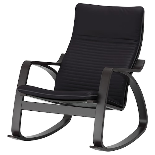 POÄNG rocking-chair black-brown/Knisa black 68 cm 94 cm 95 cm 56 cm 50 cm 45 cm
