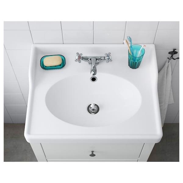 RÄTTVIKEN Single wash-basin, white, 62x49x6 cm