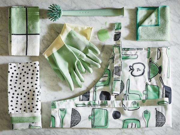RINNIG Dish-cloth, green, 25x25 cm