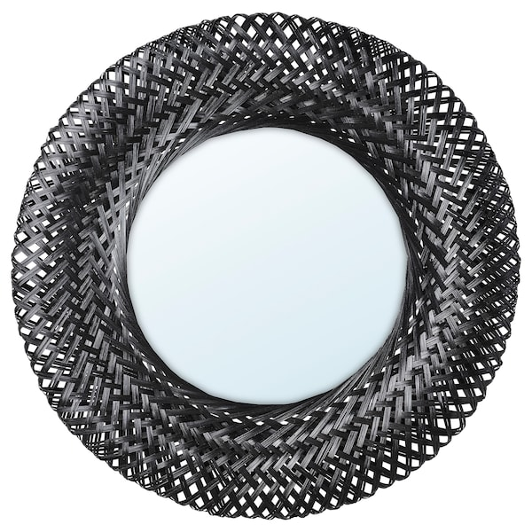 RISBYGD Mirror, bamboo/black, 50 cm