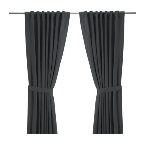 RITVA Curtains with tie-backs, 1 pair   The curtains let the daylight through but reduce direct sunlight.