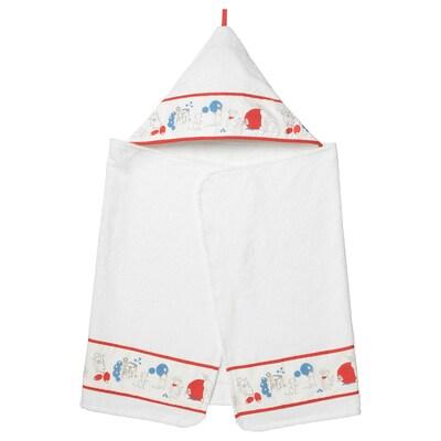 RÖDHAKE Baby towel with hood, rabbits/blueberries pattern, 60x125 cm