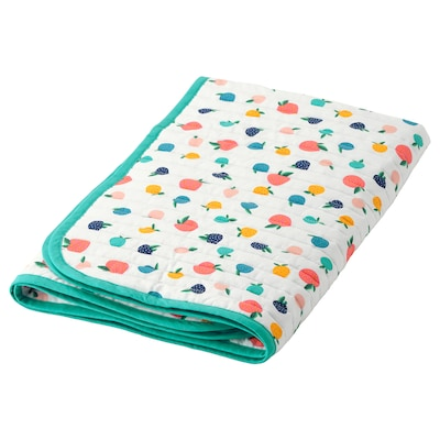 RÖRANDE Quilted blanket, fruit/dots pattern/blue, 96x96 cm