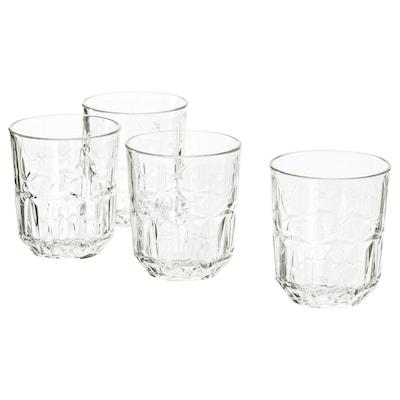 SÄLLSKAPLIG Glass, clear glass/patterned, 27 cl