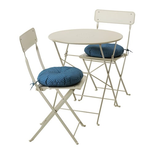 SALTHOLMEN Table+2 Folding Chairs, Outdoor   Saltholmen Beige/Ytterön Blue    IKEA