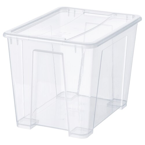 SAMLA box with lid transparent 39 cm 28 cm 28 cm 22 l