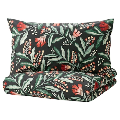 SAMMETSBLAD Duvet cover and 2 pillowcases, black/multicolour, 200x200/50x80 cm