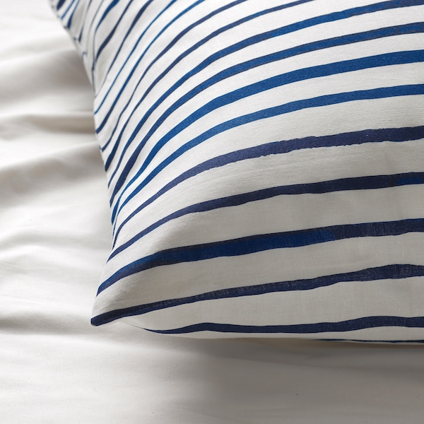 SÅNGLÄRKA Duvet cover and pillowcase, striped/blue white, 150x200/50x80 cm